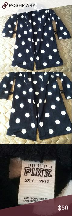 PINK Victorias Secret Black white Polka Dot Robe Bust about 22in length 34in Doesn't have the rope to tie Very fuzzy like new In great condition  Looks navy in pictures but it black I usually wear M or L and I could wear this PINK Intimates & Sleepwear Robes