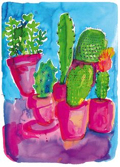 Cactus Party Art Print by lovelysweetwilliam on Etsy