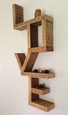 What word sends a powerful message to you? Love - wall shelf made from recycled timber offcuts: via State of Green Diy Wood Projects, Home Projects, Wood Crafts, Recycled Crafts, Into The Woods, Woodworking Plans, Woodworking Projects, Woodworking Furniture, Diy Casa