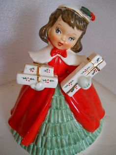Vtg Napco Christmas Girl Planter Figurine with Presents | eBay