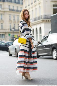 Mixed print stripes. Midi skirt. - Latest trends and fashion advice at www.littlepinkmoto.com