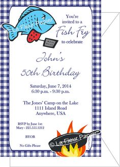 Fish Fry Invitation Printable Party Invitation On Etsy 12 00
