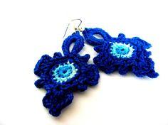 Crochet cobalt earrings Dangle Handmade
