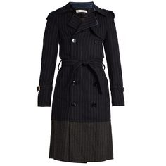 Golden Goose Deluxe Brand Double-breasted pinstriped trench coat ($1,071) ❤ liked on Polyvore featuring outerwear, coats, wool blend double breasted coat, grey trench coat, gray coat, trench coat and pinstripe coat