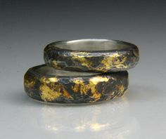 Silver Band with 23 Karat Gold Keum Boo. A Korean technique to apply gold foil to silver using heat and pressure