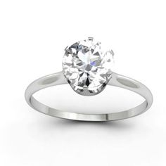 Pure Brilliance Solitaire ring 6 claw White 6.5mm