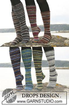 """DROPS 110-31 - Pitkät DROPS sukat """"Fabel""""-langasta jossa joustinneuleinen tai sileäneuleinen jalkaosa. - Free pattern by DROPS Design"""