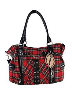 Cute handbag with front handcuff applique with red tartan and black faux leather details. Front flap closing pocket, zip closure pockets each side and back zip closure pocket. Reinforced adjustable detachable shoulder strap made from faux leather and black carry handle. The zip opening. Inside two open pouch pockets, pen holders and big zip closure pocket. Made from a Polyester.   Also Available in a matching Wallet!