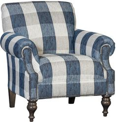 Darby Home Co Crutchfield Armchair Upholstery: Cotton Jodat Indigo Plaid, Finish: Driftwood Furniture Grade Plywood, Furniture Logo, Online Furniture, Painted Furniture, Furniture Upholstery, Furniture Removal, Metal Furniture, Living Room Chairs, Living Room Furniture