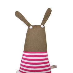 Bunny Plush Doll with Hot Pink & White Stripy Top Bunny by poosac, £32.50