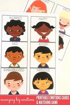 Kids Health Managing Big Emotions: Printable Emotions Cards and Matching Game. Great for use with children of all ages at home or school. - Help children of all ages learn to recognise, manage and empathise with these big emotions cards and matching game. Emotions Game, Emotions Preschool, Teaching Emotions, Emotions Cards, Emotions Activities, Feelings And Emotions, Preschool Activities, Teaching Kids, Feelings Games