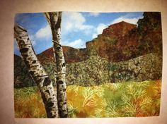 Lovable landscape fabric postcard.