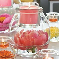 Gorgeous! any color scheme would work in this candle holder/vase. Perfect for wedding, graduation, baby shower, bridal shower. Pink flower, pink candles