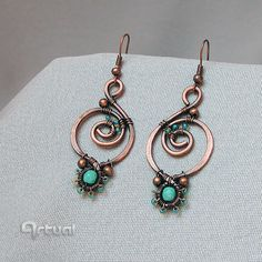 Dangle earrings hoop earrings drop earrings turquoise by Artual