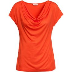 H&M Top with draped neckline (680 RUB) ❤ liked on Polyvore featuring tops, shirts, orange, h&m, orange top, red top, jersey top, red jersey and modal shirt
