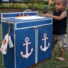 DIY thrift store sink made over with a nautical theme for boys! Hand-painted in chalk paint, stencils, and dark wax.