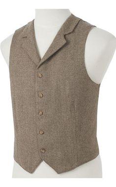 Mens Light Brown and Cream Wool Herringbone with Collar