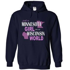 Minnesota girl in Wisconsin T Shirts, Hoodies, Sweatshirts - #designer t shirts #men hoodies. PURCHASE NOW => https://www.sunfrog.com/States/Minnesota-girl-in-Wisconsin-NavyBlue-Hoodie.html?id=60505