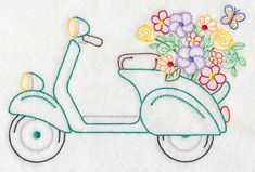 Scooter in Bloom Embroidered Flour Sack Hand/Dish Towel Hungarian Embroidery, Crewel Embroidery, Vintage Embroidery, Embroidery Kits, Kashida Embroidery, Embroidery Digitizing, Embroidery Scissors, Embroidery Transfers, Machine Embroidery Patterns