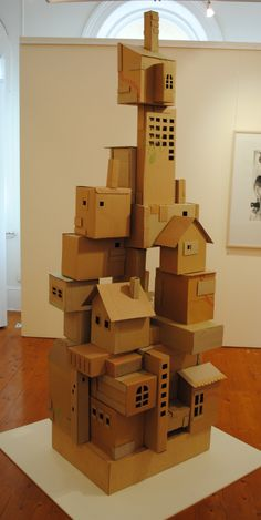 """She lives in this house over there"" Cardboard and thread embroidered houses. - ""She lives in this house over there"" Cardboard and thread embroidered houses. – ""She lives - Cardboard City, Cardboard Sculpture, Cardboard Crafts, Cardboard Houses, Atelier Architecture, Diy For Kids, Crafts For Kids, Fun Crafts, Diy And Crafts"
