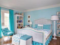 Tissus blanc et turquoise pour une décoration chambre sympa