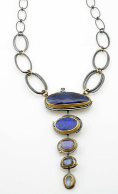 Deep Blue Cascade necklace by Sydney Lynch