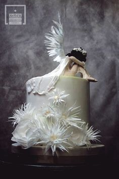 Angel - cake by Lorita Beautiful Birthday Cakes, Gorgeous Cakes, Pretty Cakes, Amazing Cakes, Torta Angel, Angel Cake, Unique Cakes, Creative Cakes, Creative Food