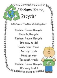 Reduce, Reuse, Recycle song for your elementary classroom!