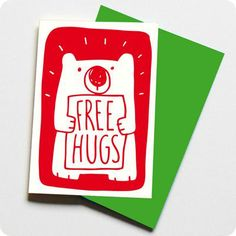 Free Bear Hugs Card by tee and toast, the perfect gift for Explore more unique gifts in our curated marketplace. Bear Hugs, Free Hugs, Saint George, Playing Cards, St George's, Valentines, Belfast, Words, Quotes