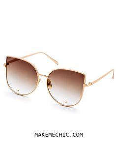 34b648c0c76 Gold Frame Brown Cat Eye Stylish Sunglasses Make Me Chic