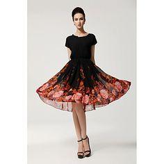 Mulheres Ruffle Batwing Sleeve Plus Size impressão impressionante vestido vestido de baile – BRL R$ 56,43