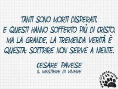 """Forse è pure vero che il soffrire non serve, ma se non provassimo anche i gusti amari della vita non potremmo apprezzare quelli dolci ;) """"Tanti sono morti disperati. E questi hanno sofferto più di Cristo. Ma la grande, la tremenda verità è questa: soffrire non serve a niente."""" Cesare Pavese - Il mestiere di vivere #cesarepavese, #soffrire, #sofferenza, #vita, #italiano,"""