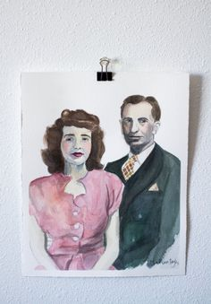 Custom Watercolor Portrait Couple by MadeByMadieArtShop on Etsy