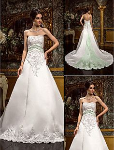 A-line Sweetheart Chapel Train Satin And Lace Wedding Dress... – USD $ 395.99