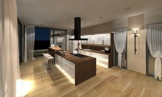 grande-cuisine-moderne-sol-bois-stratifié-clair-LED