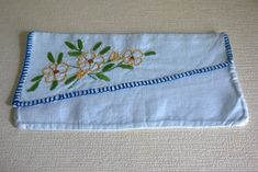 Hand made embroidered vintage Breton French linen napkin / cutlery holder by ThePemburyEmporium on Etsy
