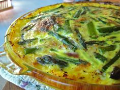 Asparagus Quiche with a Spaghetti Squash Crust13 ounces, weight Asparagus ½  Small Yellow Onion 2 cloves Garlic 1 teaspoon Olive Oil 5  Eggs 1 cup Milk 1 cup Swiss Cheese ½ teaspoons Salt ¼ teaspoons Pepper 3 cups Cooked Spaghetti Squash (1 Small Squash) (For LC, I will substitute water/Heavy Whip Cream instead of the milk) Also, I think I will have bacon too, to crumble & put on top of each serving!