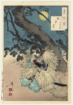 "# 78 ""Rainy moon"" (Uchu no tsuki) -- Yoshitoshi's 'One Hundred Aspects of the Moon' When the Emperor Go-Daigo was captured by the Hojo family and exiled in 1331, his retainer Kojima Takanori followed the convoy disguised as a farmer. One rainy night he carved a message in a cherry tree that only the Emperor would understand: a Chinese poem referring the the abduction of a Chinese emperor who was eventually liberated by a loyal follower. Go-Daigo saw the message, and gained courage from it."