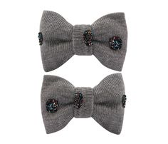 Adorable #bowtie hair clips made of fabric with spots of dark glitters. Approximately 2,5 x 4 cm, sewn on 3 cm snap clips.