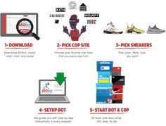 AIO Bot is an All In One Sneaker Bot which provides a solution to buy limited sneakers from retail websites: Footlocker, Finishline, Hanon, Adidas and more. Retail Websites, Foot Locker, All In One, Kicks, Adidas, Marketing, Sneakers, Stuff To Buy, Shoes