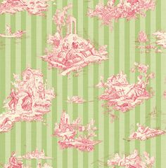 Wallquest Toile De Jouy 2 Provence Fils Pink and Green Wallpaper