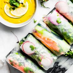 These Vietnamese spring rolls are perfect vegan appetizers served with homemade ginger curry dipping sauce made with Pacific Foods Organic Cashew Carrot Ginger Soup! Vegan Appetizers, Appetizer Recipes, Italian Appetizers, Healthy Gluten Free Recipes, Vegetarian Recipes, Curry Dip, Vegan Spring Rolls, Vietnamese Spring Rolls, Gluten Free Puff Pastry