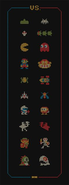 "I want to translate this into a cross stitch pattern. DKNG Glow in the Dark ""VS."" Art Print #8bit"