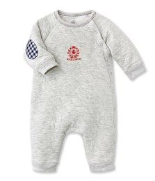 Baby boy's footless one-piece in quilted tubic cotton