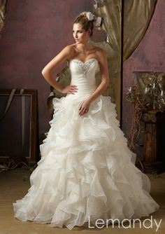strapless beaded sweetheart princess multi-layered organza wedding gown. $245.00, via Etsy.