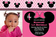 Honeyprint: Minnie Mouse Birthday Party Invitations - Inspired by Minnie Mouse