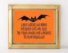 Halloween Print 5x7 8x10 11x14 Instant Download When Witches Go Riding  Halloween Poster Fall Party Print