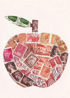 Postage stamp apple