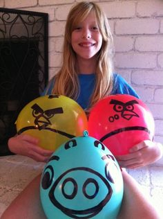 Angry birds! My son BEGS to play this on my phone constantly! I have balloons at home...I'm doing this one TODAY! =)