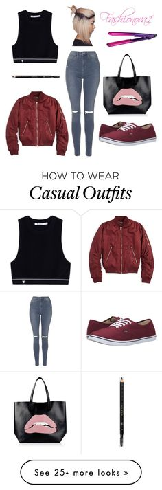 """""""Casual"""" by fashionova1 on Polyvore featuring T By Alexander Wang, Topshop, RED Valentino, Vans, Gucci and BaByliss"""